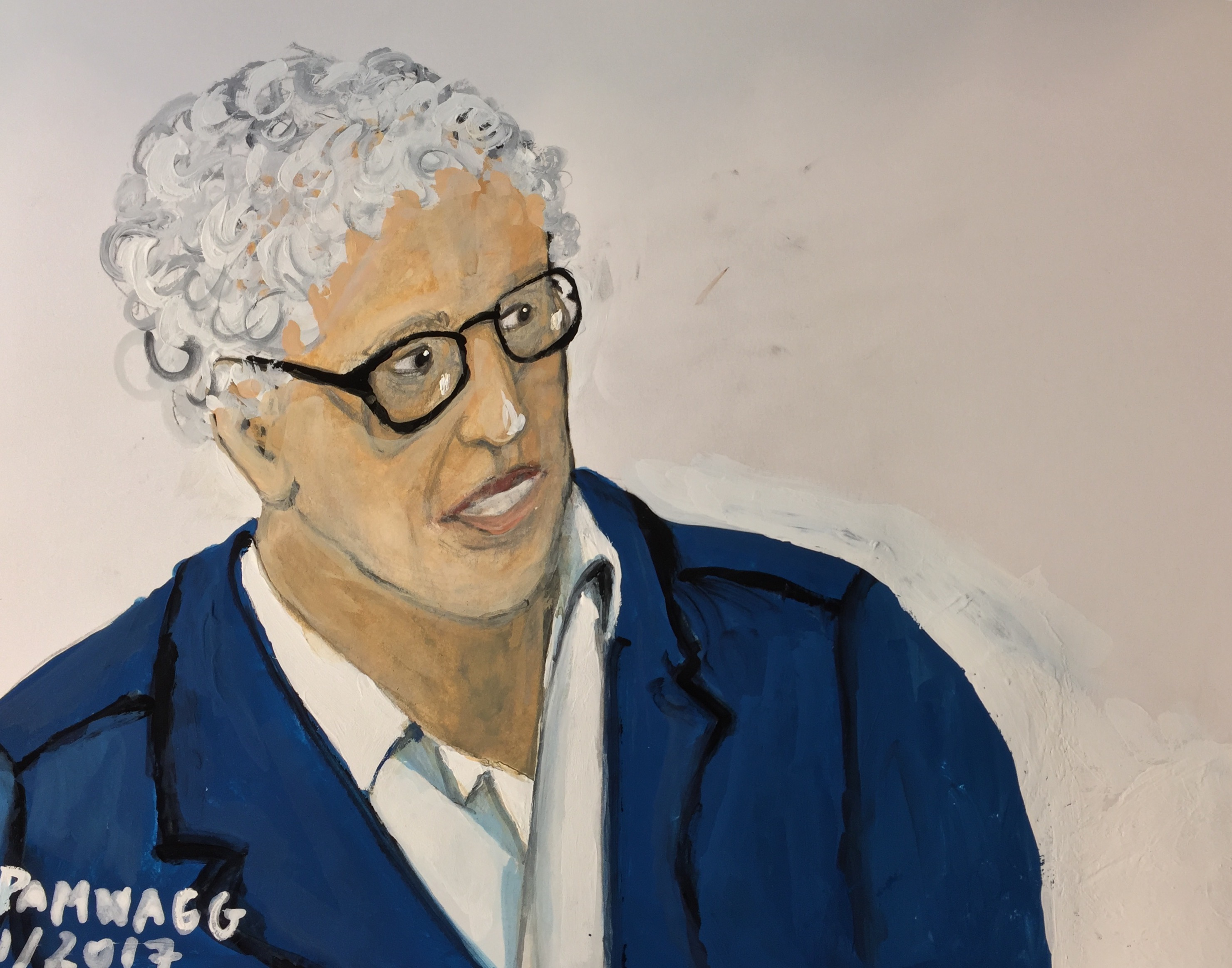 Unfinished portrait of an older woman