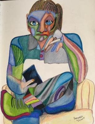 Fractured portrait of Mott, in caran d'ache luminance pencils, 9 by 12