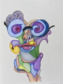 Fractured Portrait #6 caran d'ache colored pencils 9 by 12