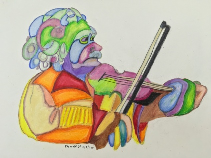 Einstein with Violin, fractured